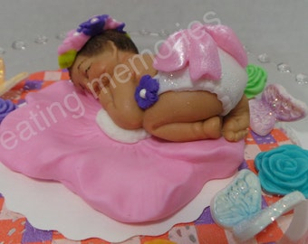 Baby on a Flower Fondant Cake Topper, made of vanilla fondant ready for your home made cakes