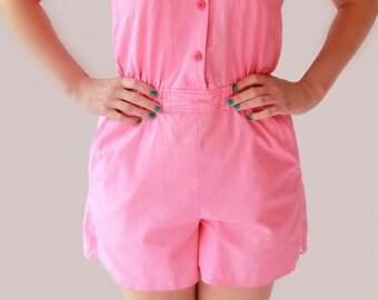 FINAL REDUCTION 1990's does 1950s Lipstick Pink Playsuit Romper Suit