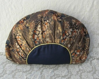 Japanese Silk Obi Pillow Cover & Pillow, gold floral design and navy blue silk, famous maker, purchased in Japan, great price, vintage