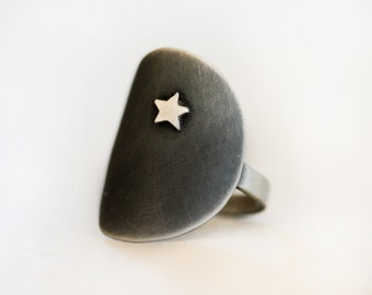 Silver Star Ring / Silver Ring / Star Jewelry / Organic Earthy Bohemian / Gift for Her / Boho Chic / Starry Night Ring