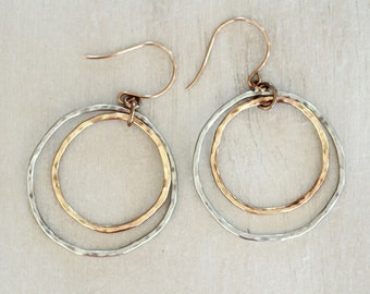 Silver and Gold Hoops / Organically Shaped and Hammered Hoop Within A Hoop / Simple Earrings / Everyday Wearable Jewelry