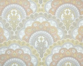 Vintage Wallpaper by the Yard 70s Retro Wallpaper – 1970s Gray Yellow and Coral Scalloped Floral Damask