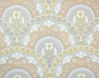 Retro Wallpaper by the Yard 70s Vintage Wallpaper – 1970s Gray Yellow and Coral Scalloped Floral Damask