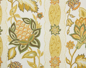 Retro Wallpaper by the Yard 70s Vintage Wallpaper – 1970s Gold and Green Floral Stripe