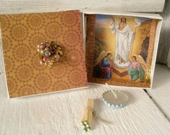 Mini prayer box Christian shrine meditation Christ icon upcycled embellished pocket size