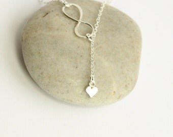 Sterling Silver Infinity and Mini Heart Lariat Necklace