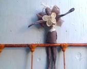 dark tan linen primitive crochet handmade holiday decor barn rustic shabby gypsy boho nursery cottage cabin chiffon wings angel