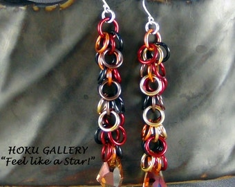 Chainmaille Earrings, Persian Blend Rings, Crystal Copper Swarovski Crystal, GF Earwires - Hand Crafted Artisan Jewelry