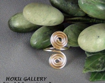 Wirewrapped, 16ga 14k GF Round Wire, Adjustable Ring, fits finger size 6 - 8 - Hand Crafted Artisan Jewelry
