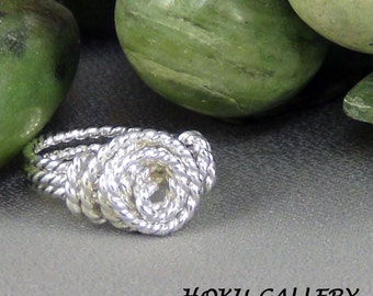 """Wirewrapped, 16ga Sterling Silver Twisted Round Wire, size 3"""" - Hand Crafted Artisan Jewelry"""