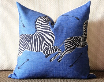 10 color to choose -Decorative Pillow Cover -  Blue Scalamandre OUTDOOR Zebra Decorative Pillow Cover, Square, Euro or Lumbar Pilllow 382