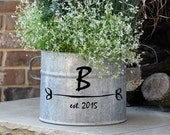 Monogrammed Vintage Galvanized Bucket - personalized vintage find from Europe