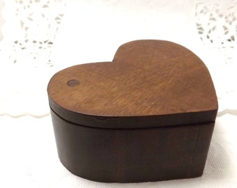 Wooden heart shaped box, hidden compartment, for rings and things, cash