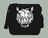 Ancient Japanese Cat Head Made of Cat Images, Natural or Black Canvas Messenger Bag, 15x11x4