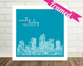 Tampa Skyline Engagement Gift Personalized Framed Art Florida Wedding Gift Tampa Print Tampa Poster Any City Available Valentines Day Gift