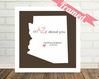 ARIZONA State Map Print Engagement Gift Frame Personalized Couple Art State of Love Personalized Gift for Couple Valentines Day Gift