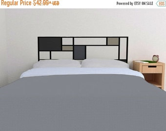 ON SALE - Mondrian Headboard Decal in the GREYS - Vinyl wall sticker decal - De Stijl Style headboard