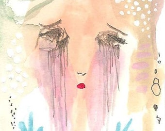 ACEO original crying girl, tears art painting, girl illustration