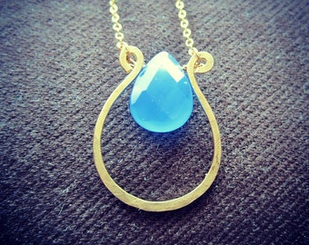 Blue Glass Harp Drop Pendant