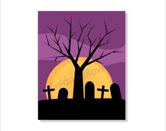 Halloween Printable Art, Full Moon, Halloween Wall decor- File Download