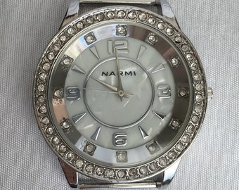 Silver Mother of Pearl Interchangeable Watch Face with Rhinestones and Ribbon Bars