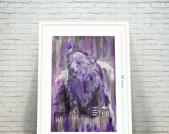 Sad Bear King Fine Art / Gigclee / Street Art /  Print