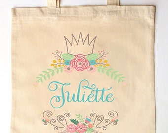 Florals and Crown Custom Printed Princess Bridesmaid Flower Girl Maid of Honor Tote Bag for Wedding