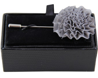 Men's lapel pin brooch chest gray flower for Formal Occasions