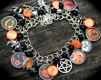 Halloween Theme Charm Bracelet - Witch - Vampires - Paranormal - Trick or Treat - All Hallows Eve - Spooky - Magic - Holiday Photo Jewelry