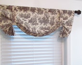 Custom Made Fully Lined TIE UP Window Curtain Valance  French Country Decor  Shabby Chic Brown Ivory Toile Window Topper