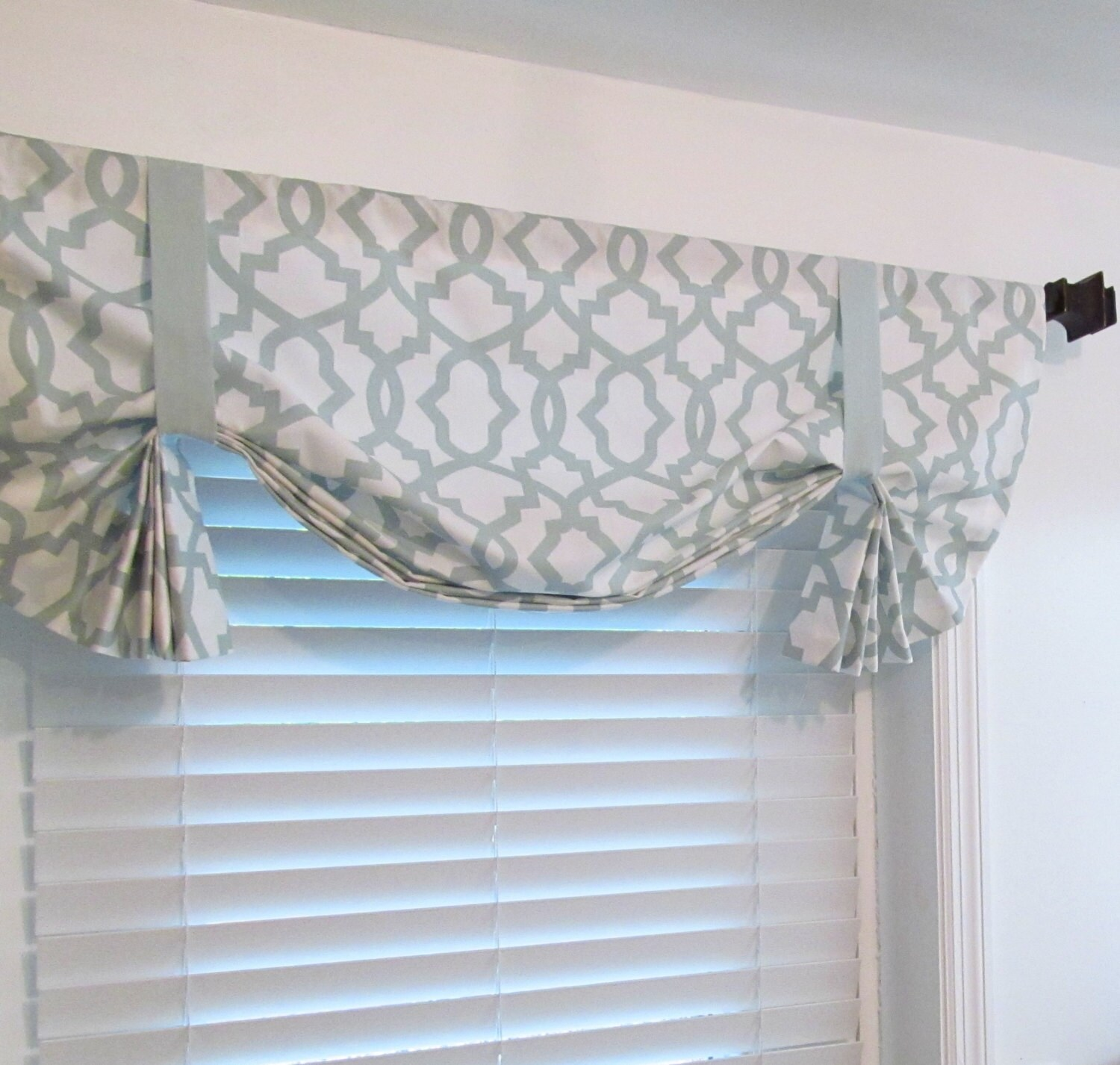 custom made tie up curtain valance snowy blue by