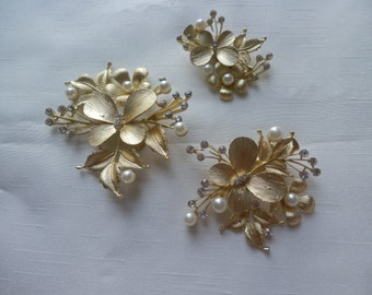 Bridal Butterfly and Flower Gold Hair Clip, Floral Handmade Rhinestone: Set of Three
