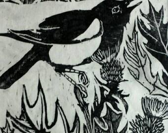 "Magpie woodblock print 8""×10"""