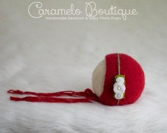 RTS Felted Newborn Bonnet Photo Prop Boy & Girl with Detachable Headband-Christmas Baby Felted Bonnet-Newborn Photo Prop-Organic Bonnet