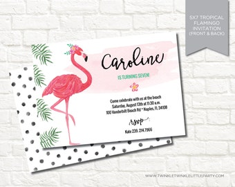 Tropical Modern Watercolor Flamingo Summer Birthday Party Invitation