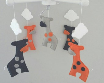 Baby Crib Mobile- Giraffe Baby Mobile- Custom Made Baby Mobile-Navy blue orange and grey giraffes -giraffes nursery mobile