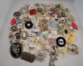 RESERVED FOR OLGA** 65 Brooch Lot, Jewelry Distash, Jewelry Lot, Jewelry for Repurpose, Jewelry for Crafting, Brooch Lot, Junk Jewelry