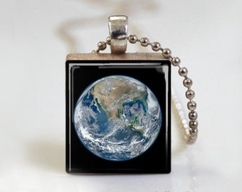 Planet Earth Photography - Scrabble Tile Pendant - Free Ball Chain Necklace or Key Ring
