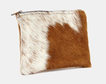 Leather COW HAIR Zipper POUCH Camel Brown White Cowhide Wallet Clutch Bag Cosmetic Holder Western Vintage Recycled Distressed Boho Hippie
