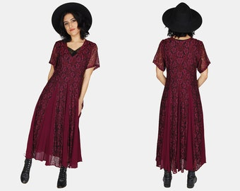 FLORAL Maroon LACE Maxi Dress Vtg 90's SHEER Nostalgia Dreamy Bohemian Summer Festival Short Sleeve Romantic Grunge V Neck – Small/Medium