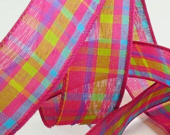 1.5 Inch Ribbon, Wired Edge Ribbon, Patterned Ribbon, Hot Pink Plaid, Ribbon Spools, 50 Yards, Wrapping Ribbon, Designer Ribbon, Wire Ribbon