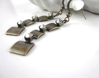 Metal and CZ 3 tiered earring, CZ dangle, bronze square tiered long earring, long 3 tiered earrings antique bronze