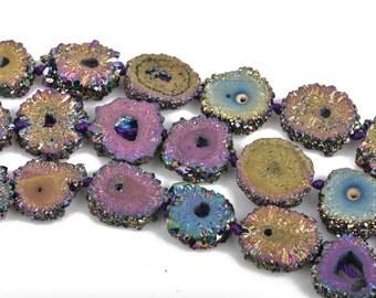 2 RAINBOW Druzy Beads, Natural Quartz, Titanium Plated, Cross Section of Stalactite, 12mm to 15mm, gdz0182