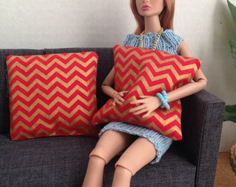 Set of 2 red and gold chevron pillows for one sixth scale dioramas or dollhouse