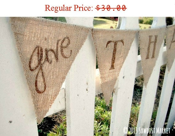Thanksgiving Decor, Thanksgiving Banner, Give Thanks banner bunting REVERSIBLE with Polka Dots