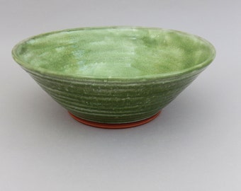 Pottery Fruit Bowl - Green Glazed Ceramic Salad Bowl