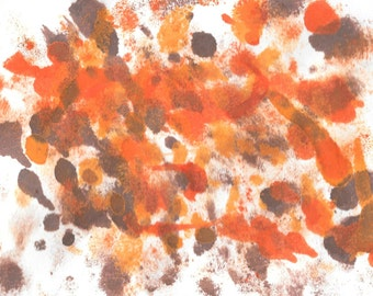 "Original Painting - 5"" x 7"" - Abstract - Multicolored India Ink Painting - 2015-487"