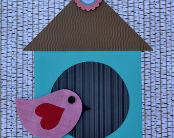 "Handmade Original Paper Collage - 12"" x 12"" - Bird and Birdhouse - Mixed Media Collage 2016-17"