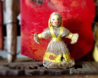Vintage Russian Folk Art Doll Natural Fibers Handpainted