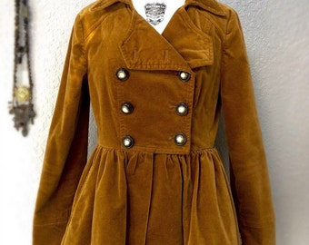 Vintage Anthropologie Velour Winter Jacket With Peplum Crinoline Pockets Lined New Condition Size 6